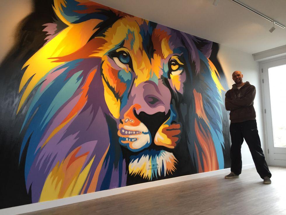 graffiti muurschildering leeuw