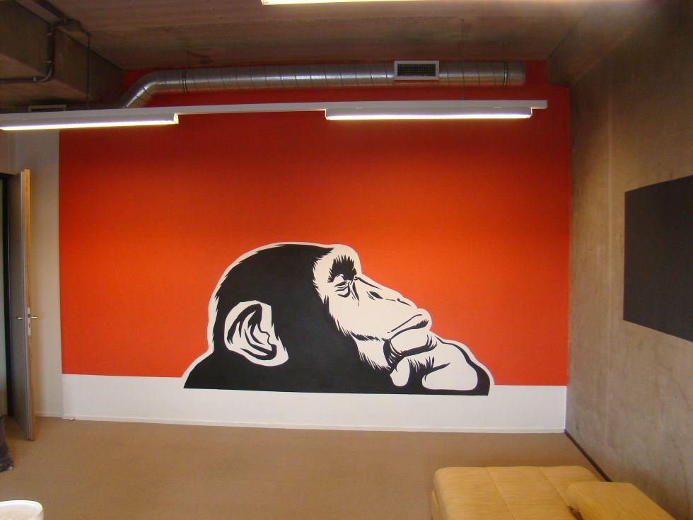 Aap graffiti muurschildering voor bedrijven