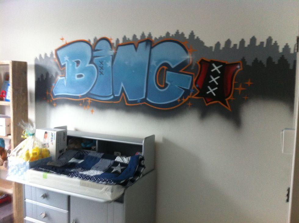 Graffiti kinderkamer surfing art