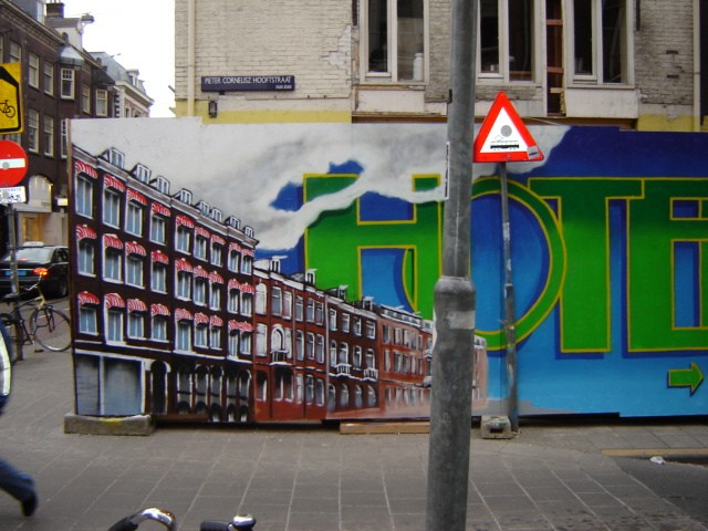 graffiti muurschildering Hotel amsterdam