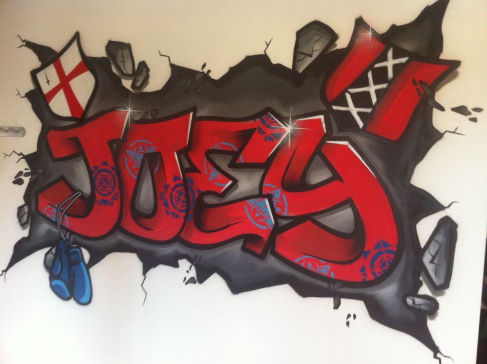 graffiti muurschildering in kinderkamer surfing4art