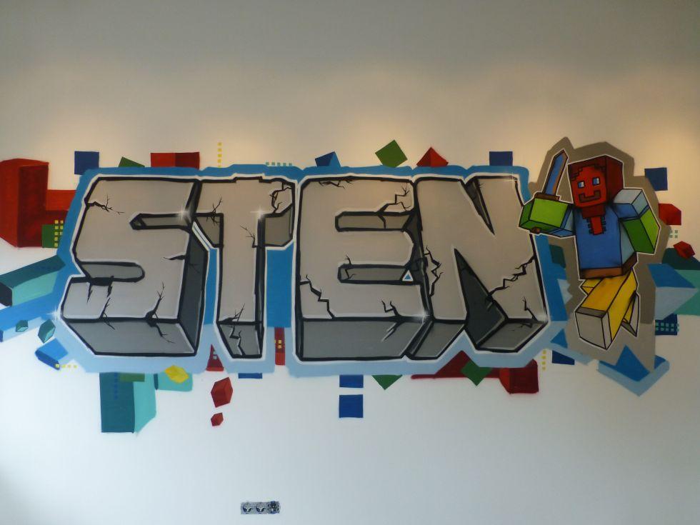 wall art minecraft graffiti