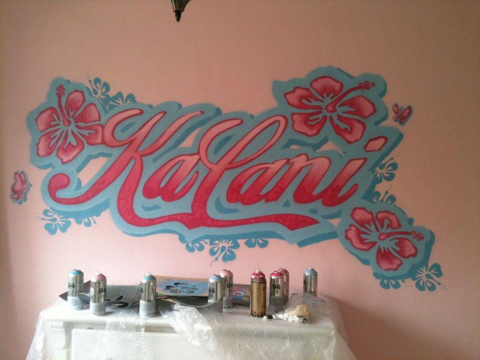 Muurschildering babykamer door Tim