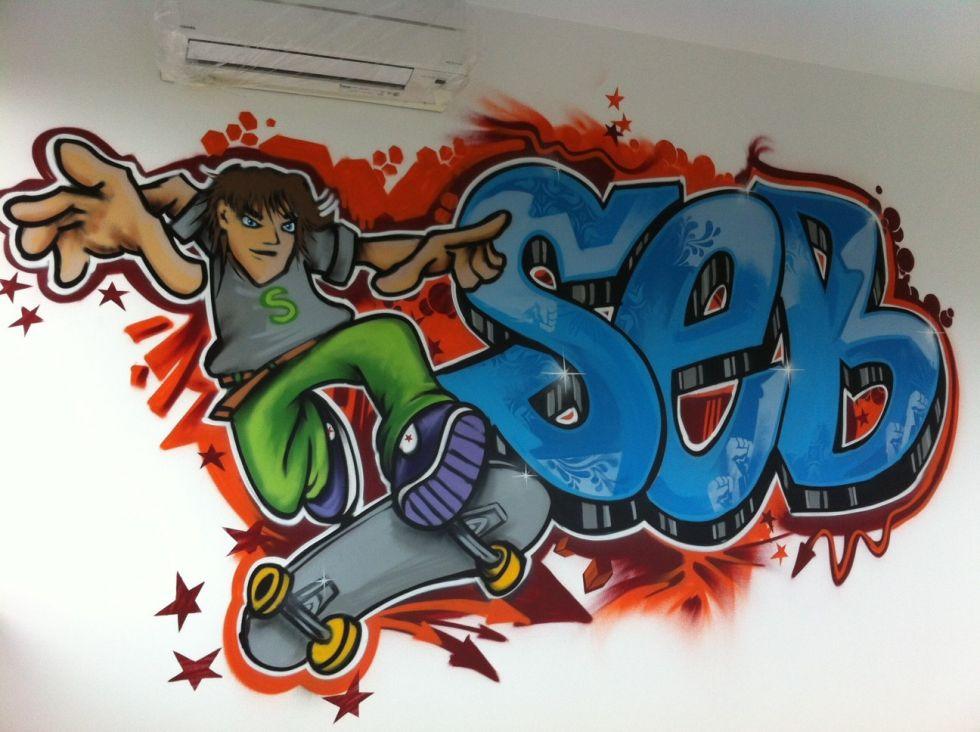 Graffiti kinderkamer Seb